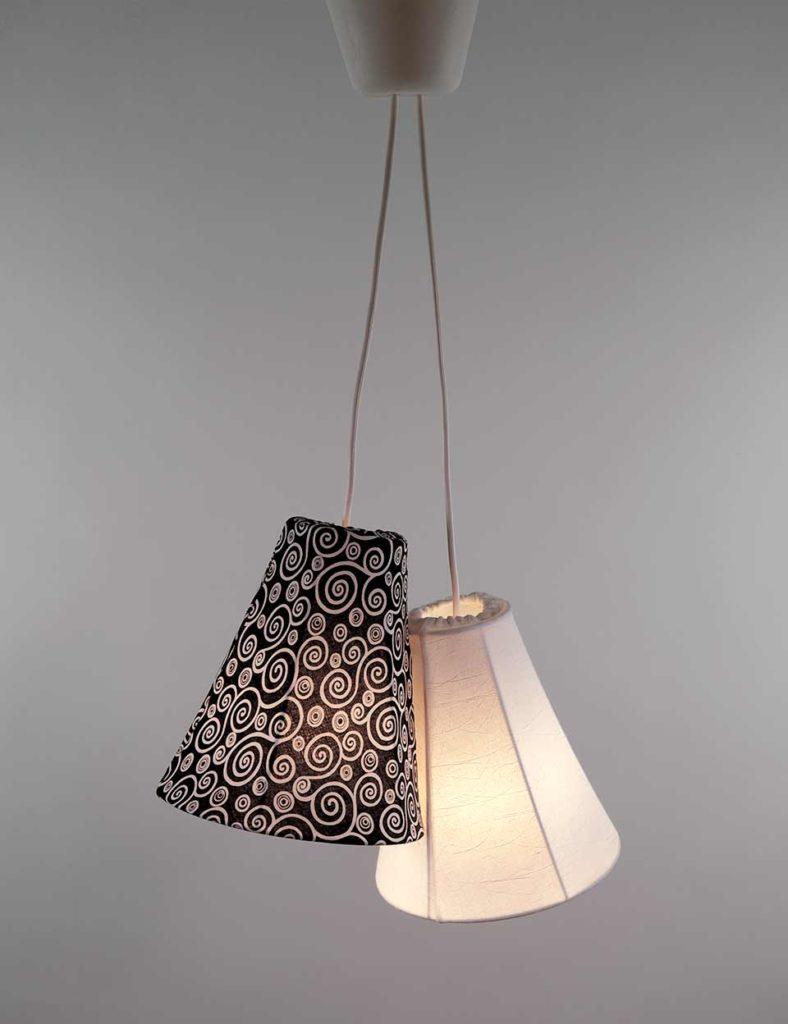 Lampe, 2 stk, aftageligt betræk, sort/hvid