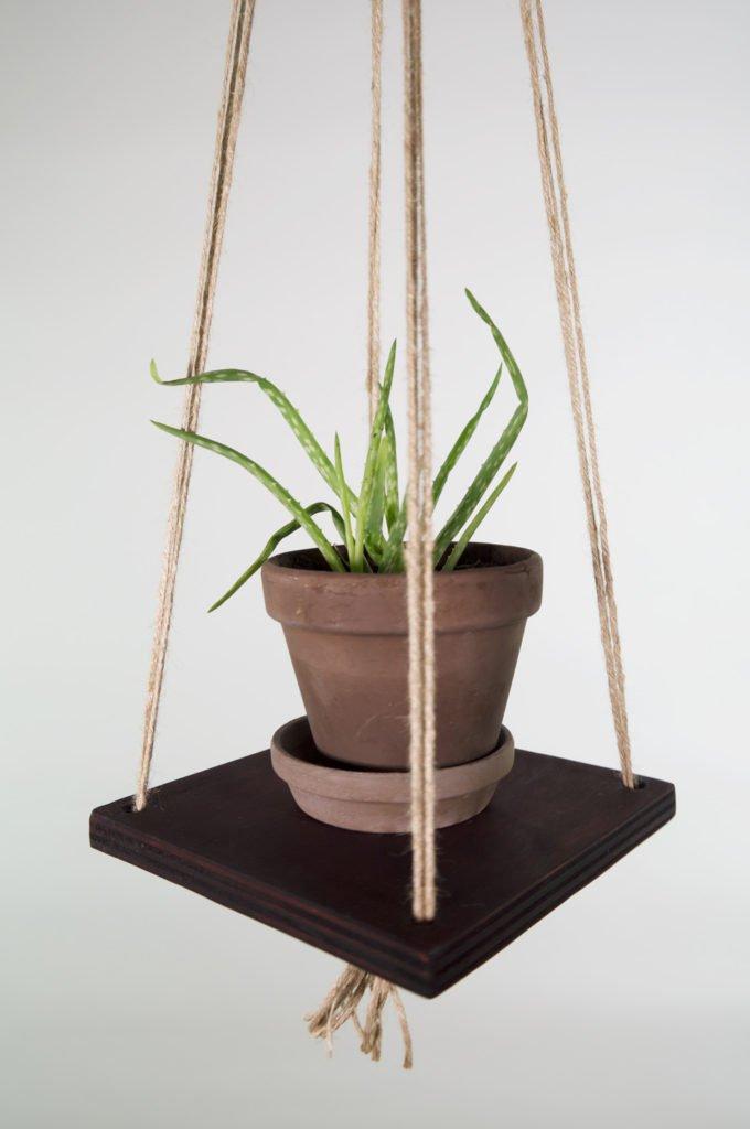 Hængende hylde, Hanging shelf, snor i jute, bejdset mørk brun, krydsfiner med aloe vera